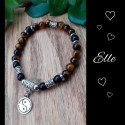 Ensemble bracelets Oeil de tigre & Obsidienne, Yin & Yang