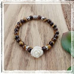 Bracelet Oeil de tigre, Rose blanche
