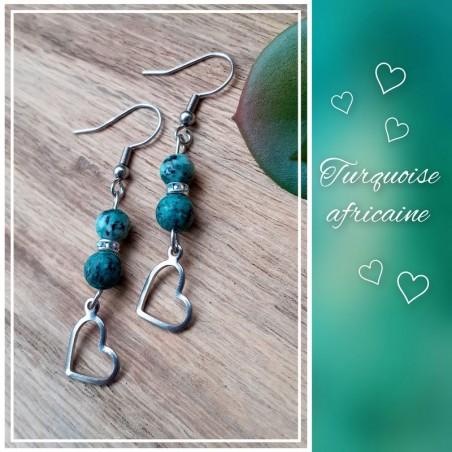Boucles d'oreilles Turquoise Africaine, Coeur