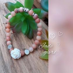 Ensemble Jade givré abricot, Rose blanche