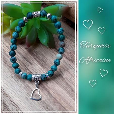 Bracelet Turquoise Africaine, Coeur
