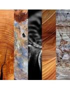 Boucles d'oreille artisannales, fait main, en perles de bois pétrifié